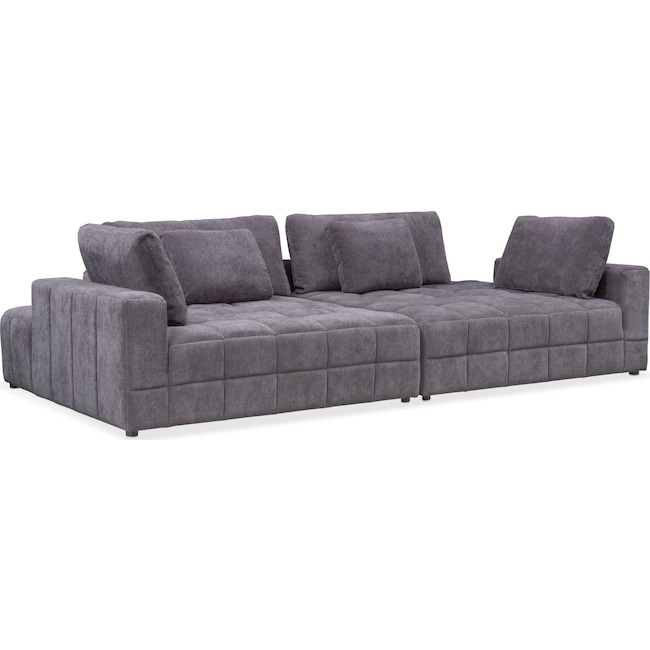 Living Room Furniture - Chill 2-Piece Chaise Sectional - Gray