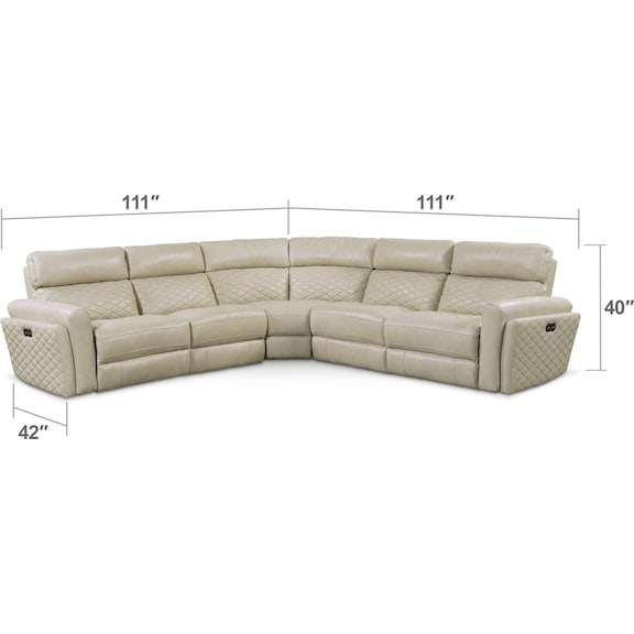 Living Room Furniture - Catalina 5-Piece Dual-Power Reclining Sectional with 3 Reclining Seats