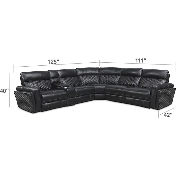 Living Room Furniture - Catalina 6-Piece Dual-Power Reclining Sectional with 3 Reclining Seats