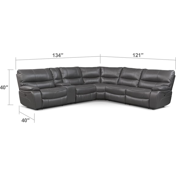 Living Room Furniture - Orlando 6-Piece Dual-Power Reclining Sectional with 3 Reclining Seats
