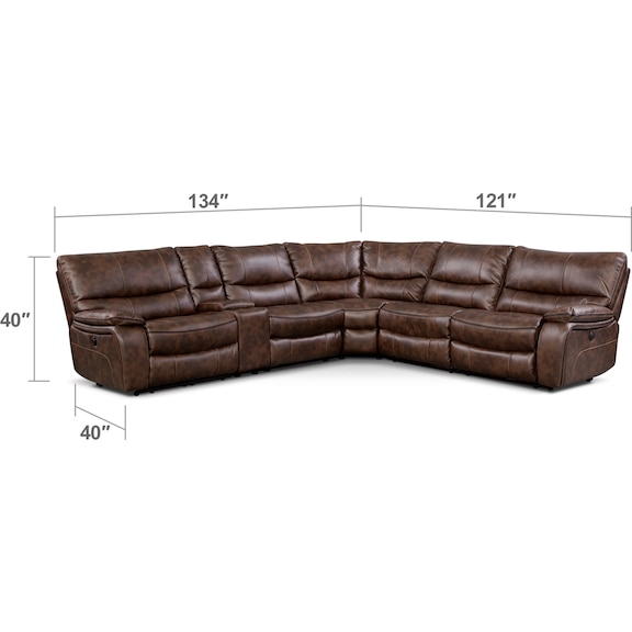 Living Room Furniture - Orlando 6-Piece Power Reclining Sectional with 2 Reclining Seats