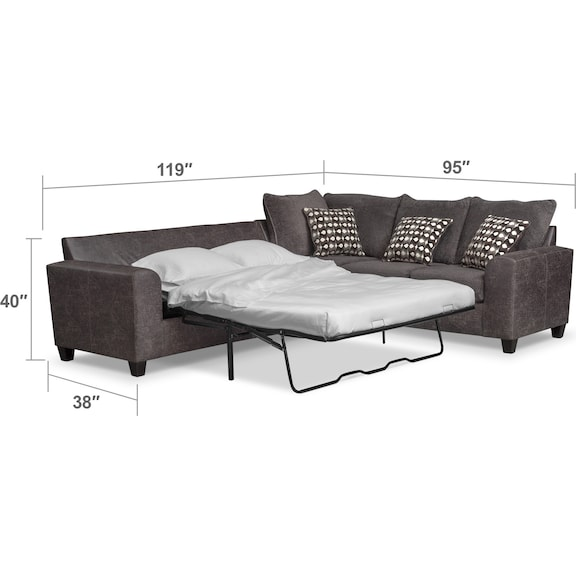 Living Room Furniture - Brando 3-Piece Queen Sleeper Sectional