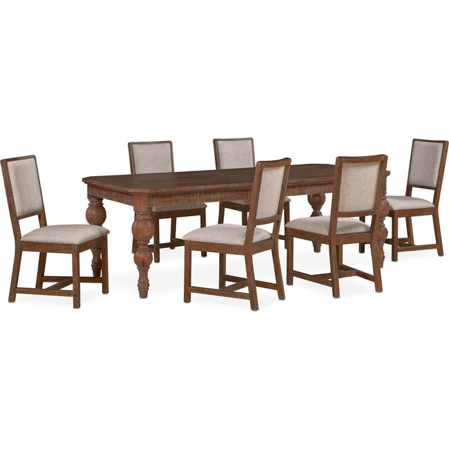Dining Room Furniture - Gristmill Dining Table and 6 Upholstered Side Chairs - Cocoa