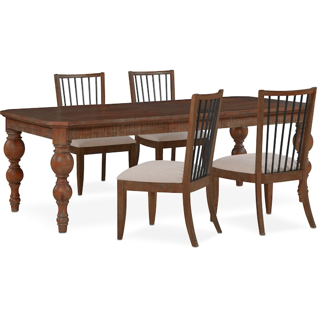 Dining Room Furniture - Gristmill Dining Table and 4 Side Chairs - Cocoa