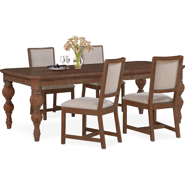 Dining Room Furniture - Gristmill Dining Table and 4 Upholstered Side Chairs - Cocoa