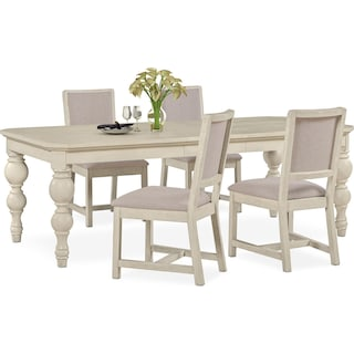 Gristmill Dining Table and 4 Upholstered Side Chairs