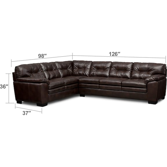 Living Room Furniture - Magnum 2-Piece Sectional with Right-Facing Sofa and Chair Set - Brown