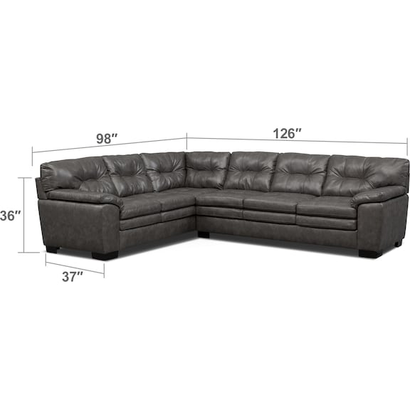 Living Room Furniture - Magnum 2-Piece Sectional with Right-Facing Sofa
