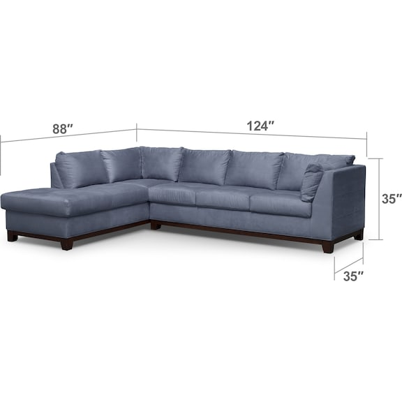 Living Room Furniture - Soho 2-Piece Sectional with Chaise and Ottoman