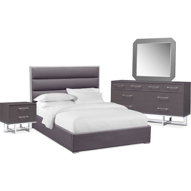 Bedroom Furniture - Concerto 6-Piece Queen Bedroom Set - Gray