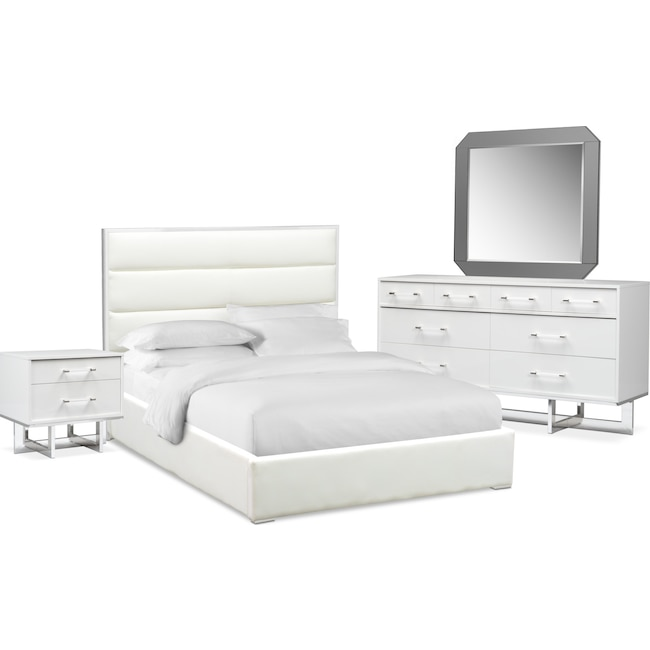 Bedroom Furniture - Concerto 6-Piece Bedroom Set with Nightstand, Dresser and Mirror