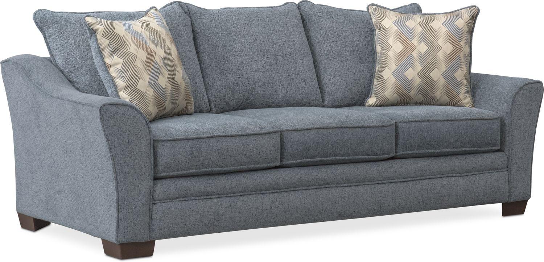 Living Room Furniture   Trevor Queen Memory Foam Sleeper Sofa   Blue