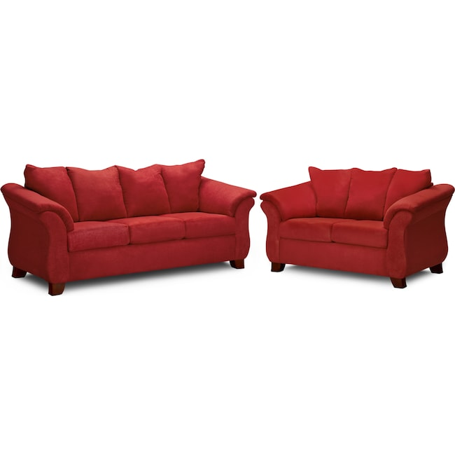 Living Room Furniture - Adrian Sofa and Loveseat Set - Red