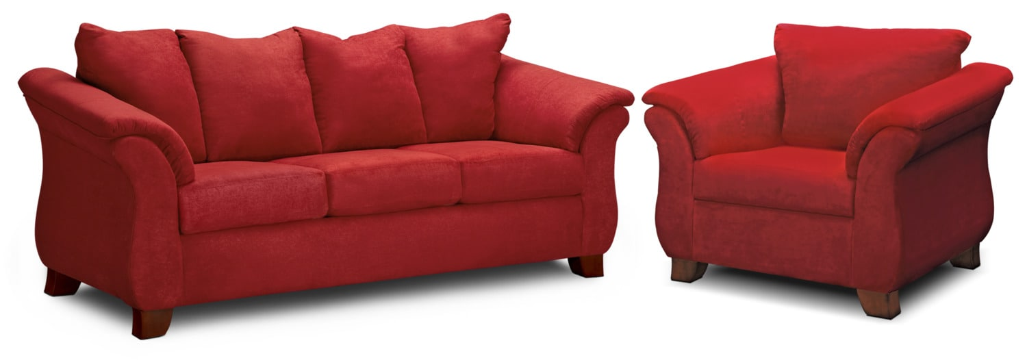 Beau Adrian Sofa And Chair Set   Red