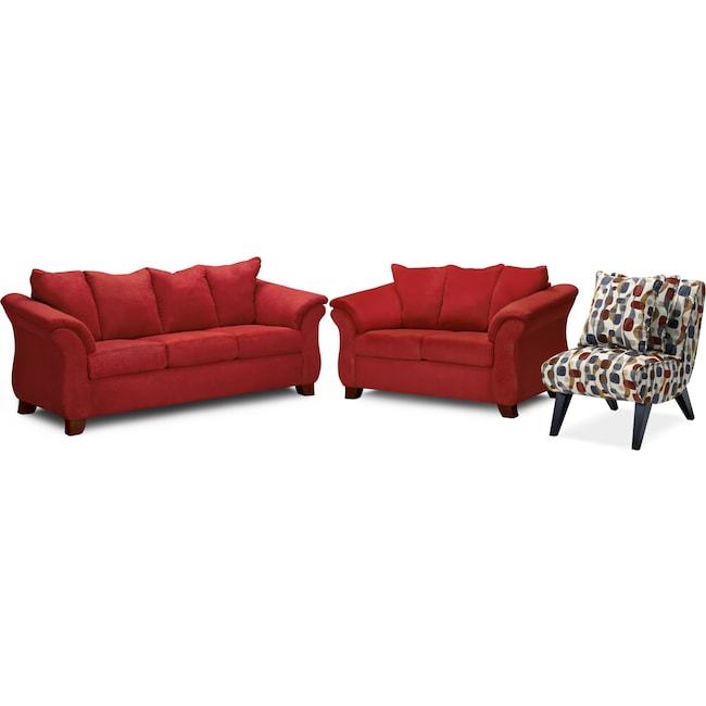 Living Room Furniture Adrian Sofa Loveseat And Accent Chair Set Red