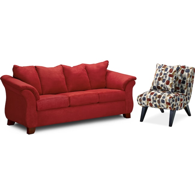 Living Room Furniture - Adrian Sofa and Accent Chair Set - Red