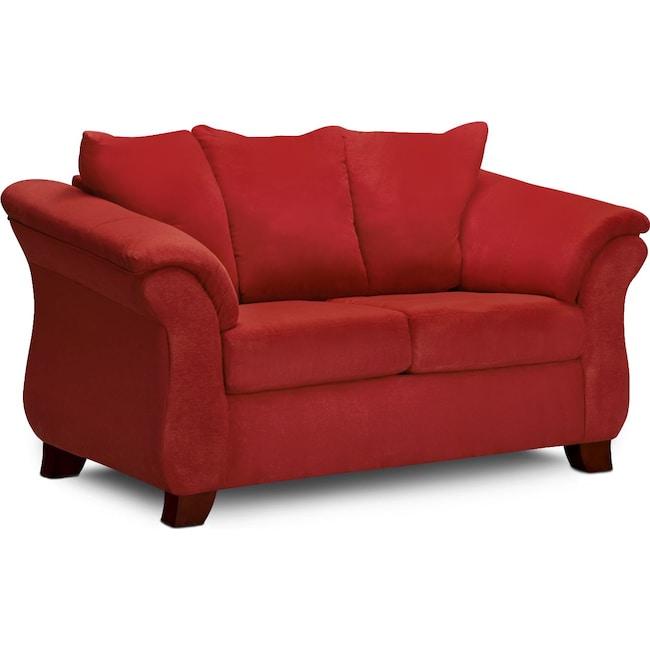 Living Room Furniture - Adrian Loveseat - Red