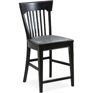 Tech Counter-Height Slat-Back Stool - Black