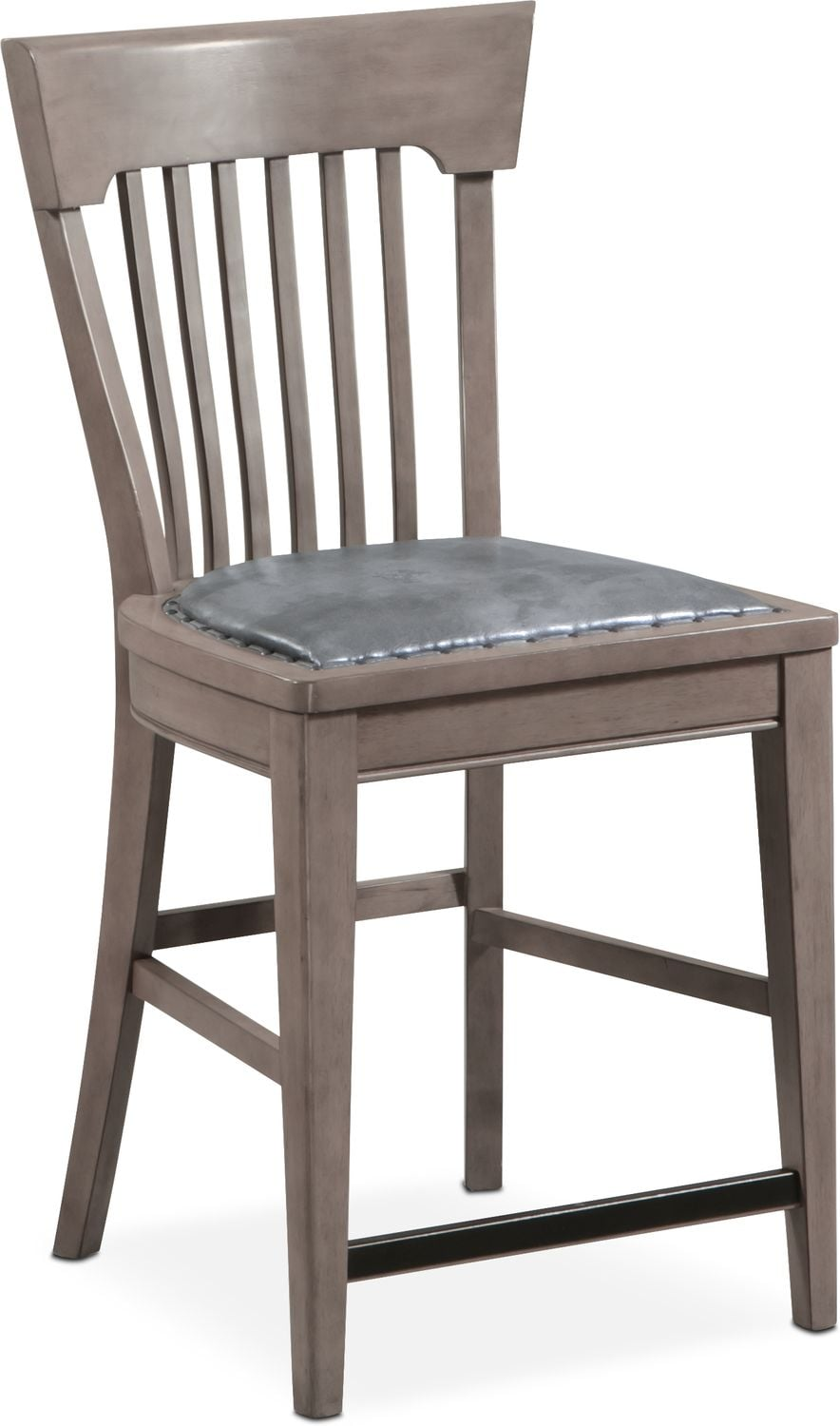 Dining Room Furniture - Tech Counter-Height Slat-Back Stool - Gray