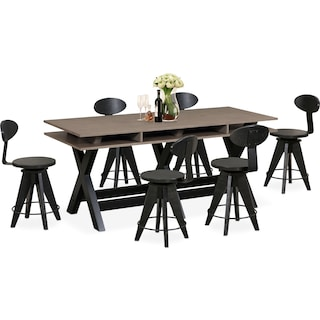 Tech Counter-Height Dining Station and 6 Drafting Stools - Black