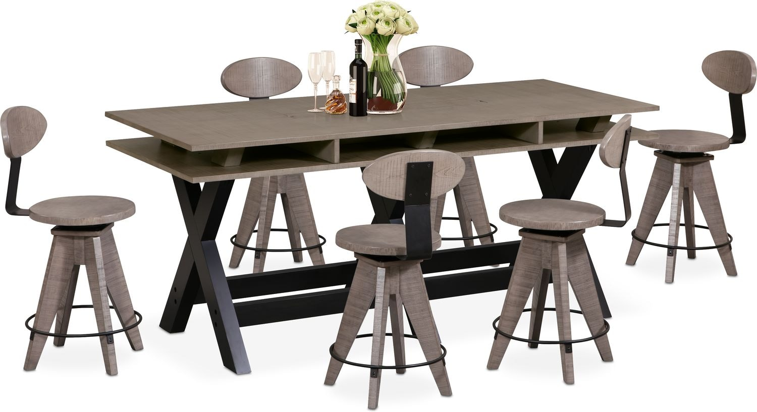 tech counter height dining station and 6 drafting stools gray