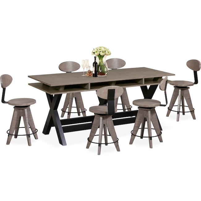 Dining Room Furniture - Tech Counter-Height Dining Station and 6 Drafting Stools - Gray