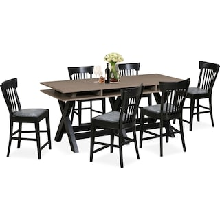 Tech Counter-Height Dining Station and 6 Slat-Back Stools - Black