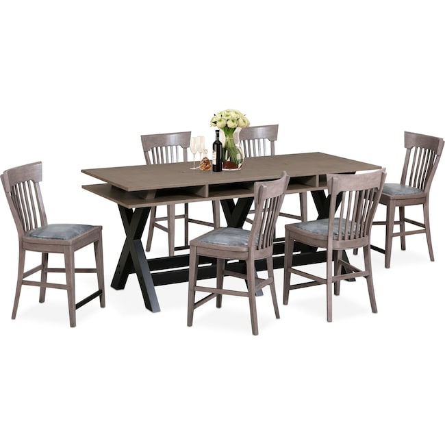 Dining Room Furniture - Tech Counter-Height Dining Station and 6 Slat-Back Stools - Gray