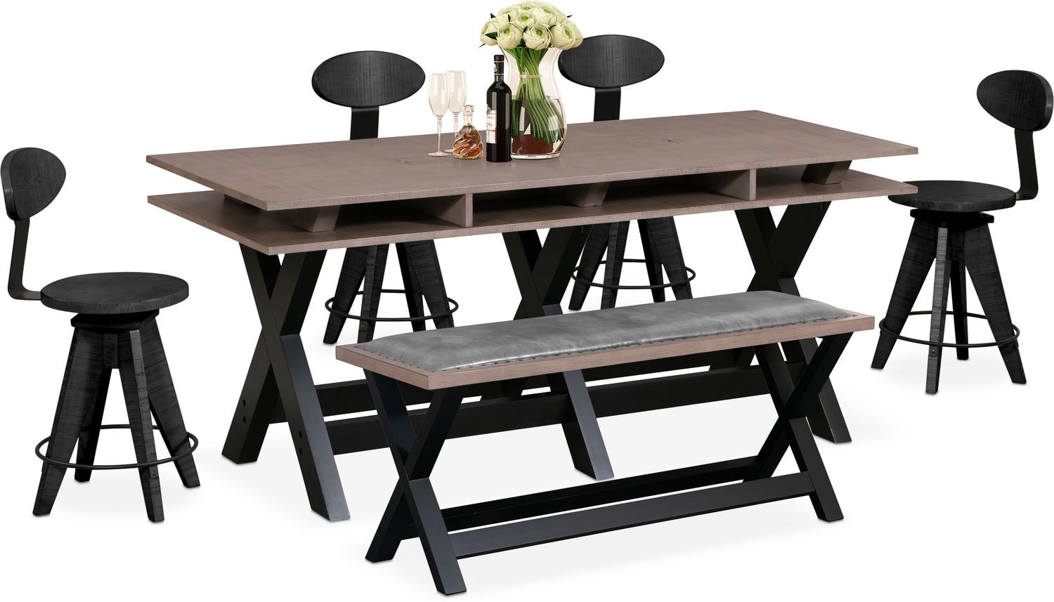 Tech Counter Height Dining Station 4 Drafting Stools And