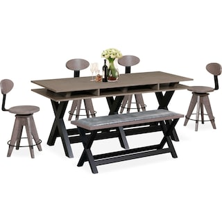 Tech Counter-Height Dining Station, 4 Drafting Stools and Bench - Gray
