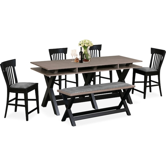 Dining Room Furniture - Tech Counter-Height Dining Station, 4 Slat-Back Stools and Bench - Black