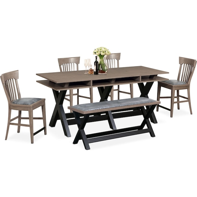 Dining Room Furniture - Tech Counter-Height Dining Station, 4 Slat-Back Stools and Bench - Gray