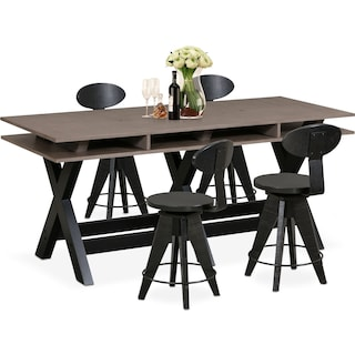 Tech Counter-Height Dining Station and 4 Drafting Stools - Black