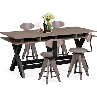 Tech Counter-Height Dining Station and 4 Drafting Stools - Gray