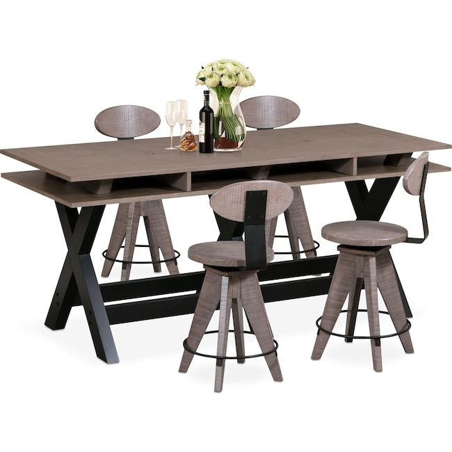 Dining Room Furniture - Tech Counter-Height Dining Station and 4 Drafting Stools - Gray