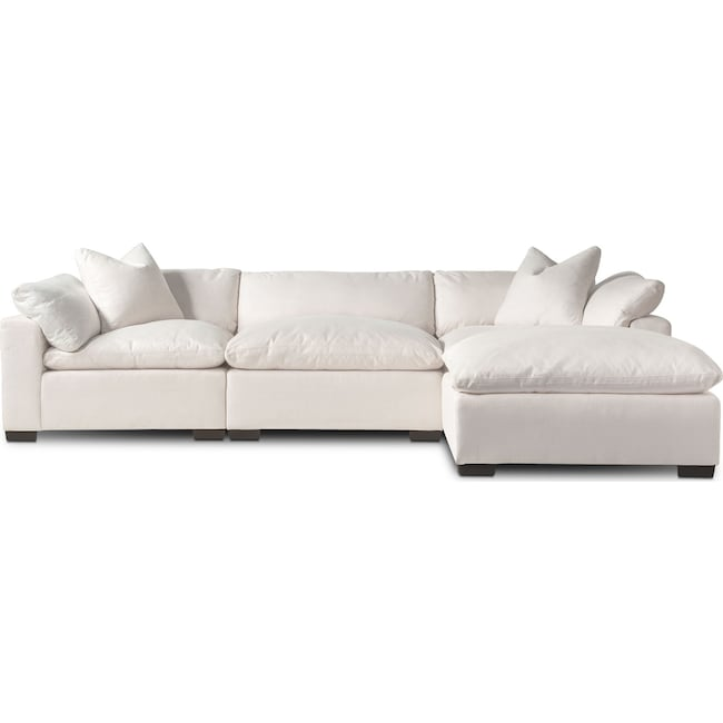 Living Room Furniture - Plush 3-Piece Sectional and Ottoman Set