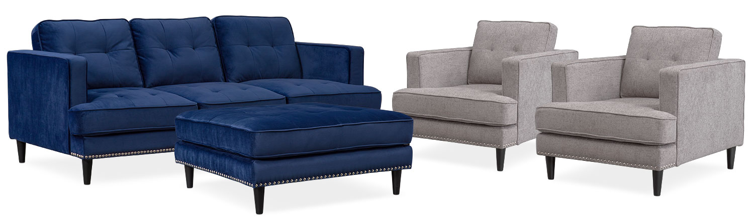 Living Room Furniture   Parker Sofa, 2 Chairs And Ottoman Set   Indigo And  Gray