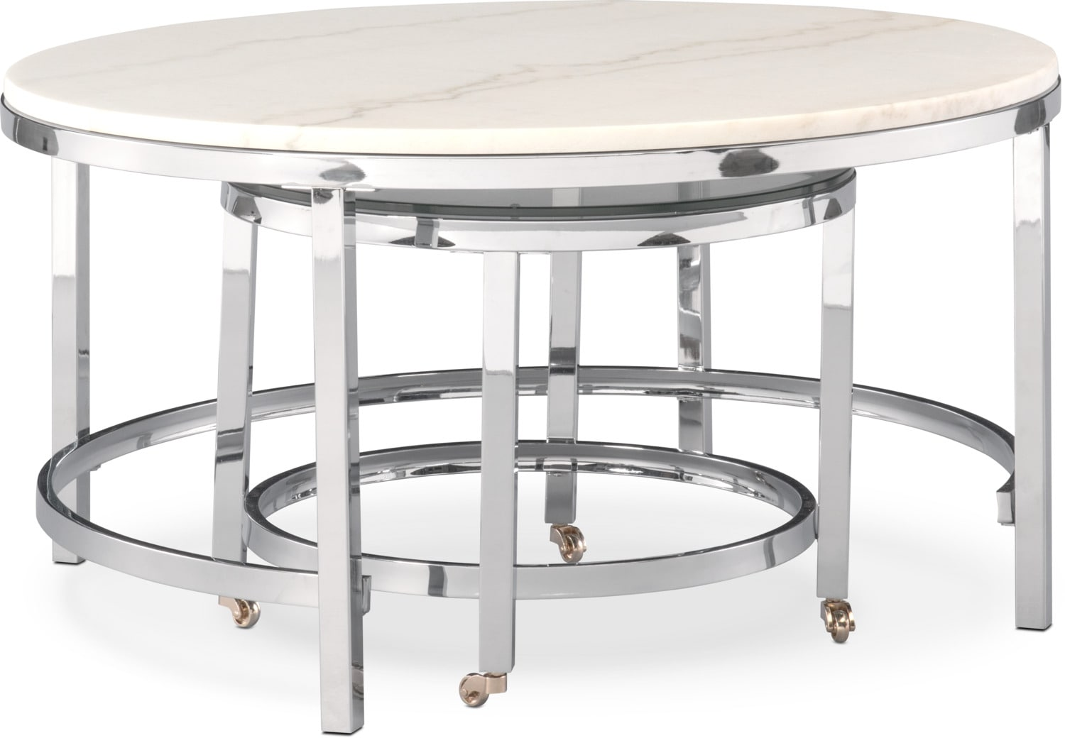 Accent and Occasional Furniture - Charisma Marble Nesting Coffee Table