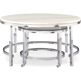 Charisma Nesting Coffee Table - Chrome and White