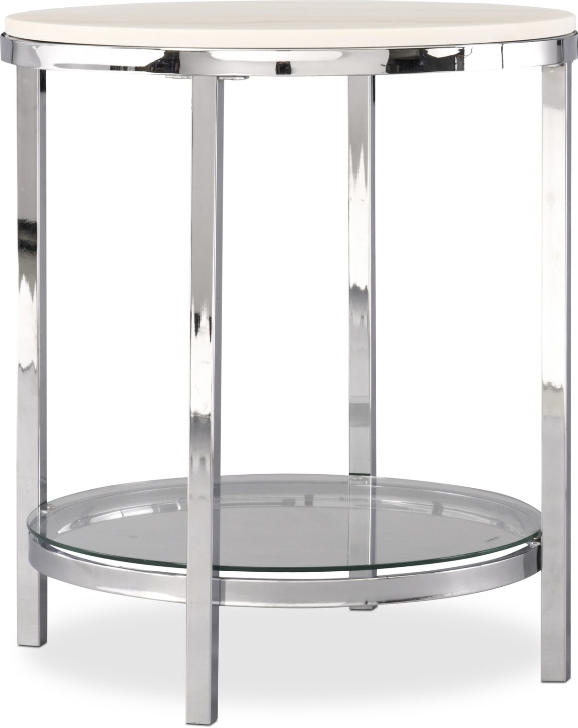 Charisma End Table   Chrome And White