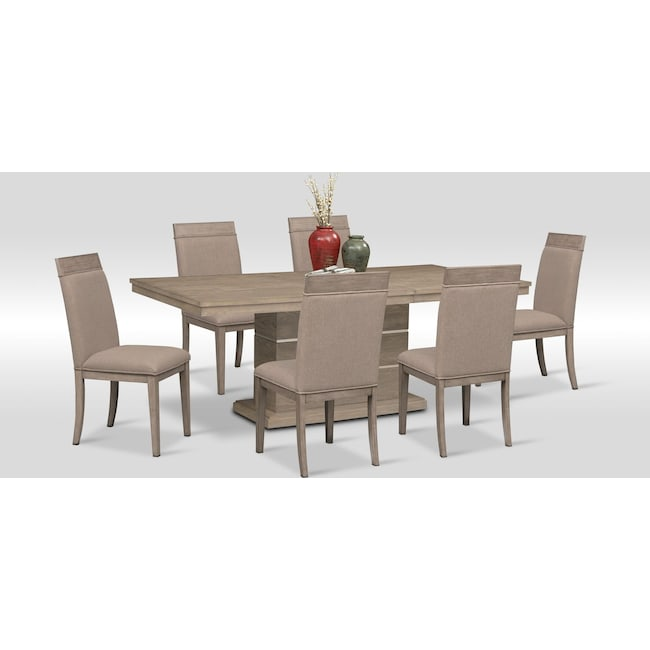 Dining Room Furniture - Gavin Pedestal Table and 6 Side Chairs - Graystone