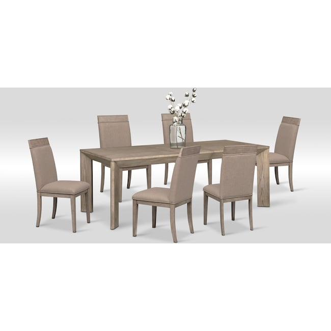 Dining Room Furniture - Gavin Table and 6 Side Chairs - Graystone