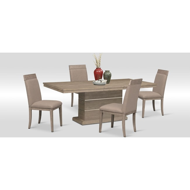 Dining Room Furniture - Gavin Pedestal Table and 4 Side Chairs - Graystone