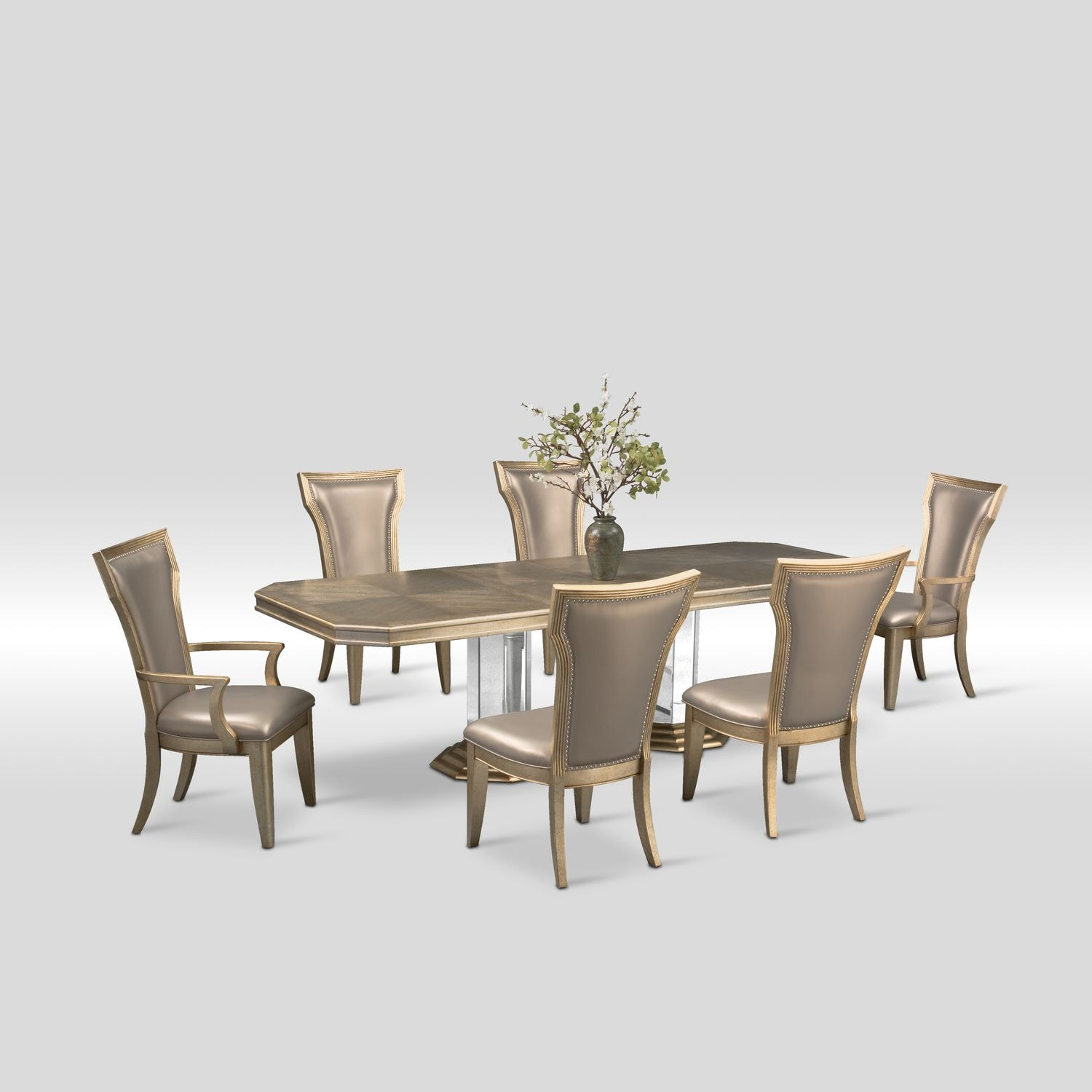 Dining Room Table For 2: Angelina Double-Pedestal Table, Two Arm Chairs And 4 Side