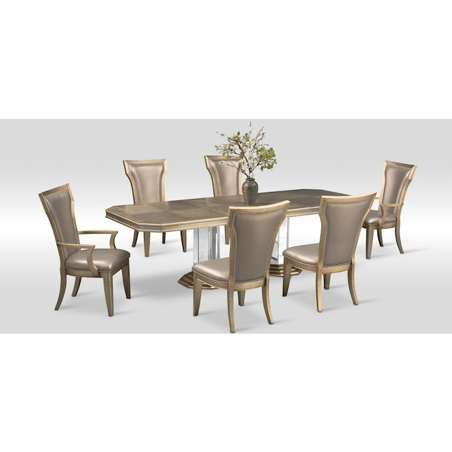 Value City Dining Room Furniture: Angelina Double-Pedestal Table, Two Arm Chairs And 4 Side