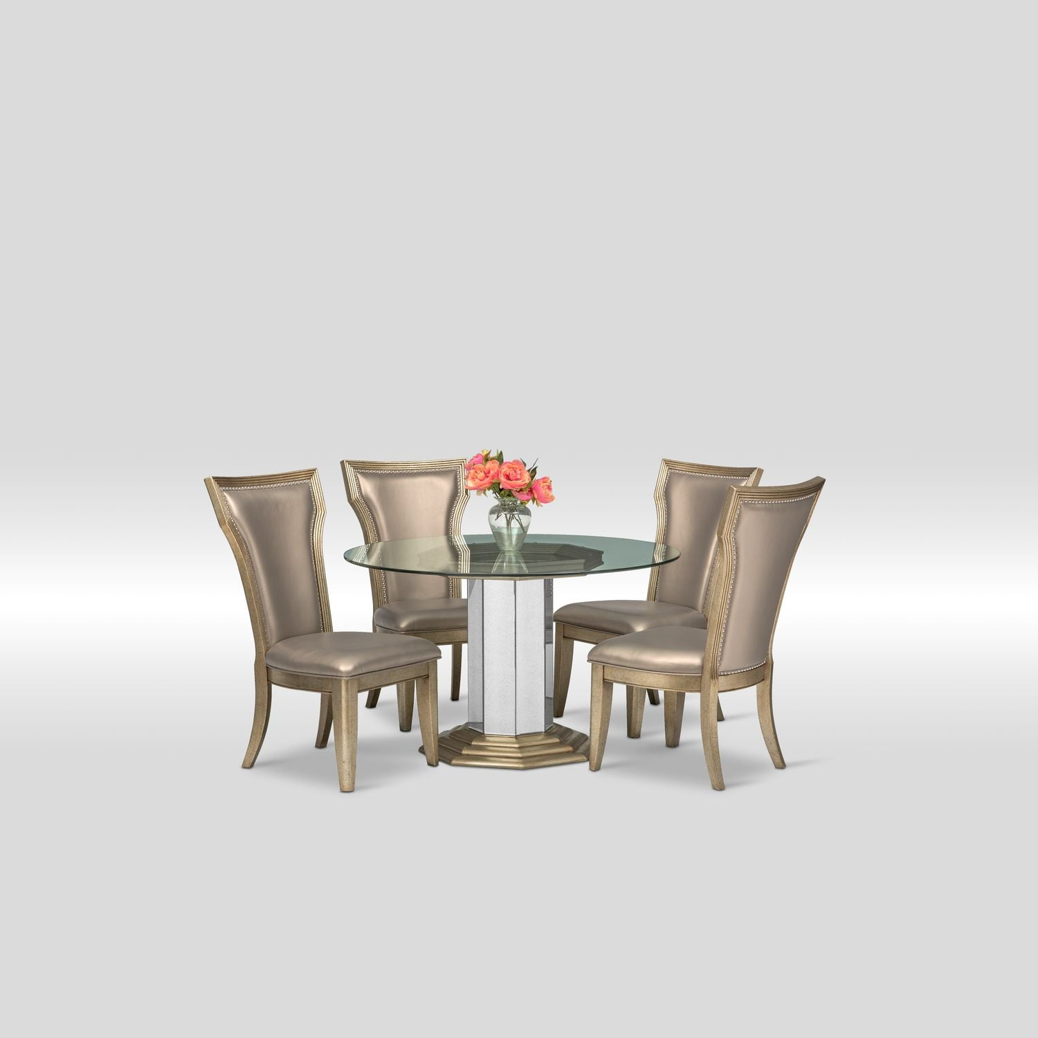 Value City Dining Room Furniture: Angelina Round Table And 4 Side Chairs - Metallic