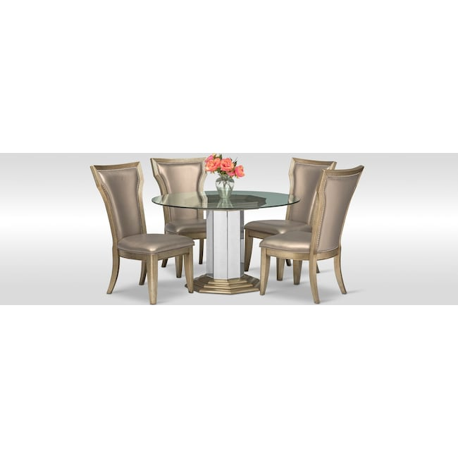 Dining Room Furniture - Angelina Round Table and 4 Side Chairs - Metallic