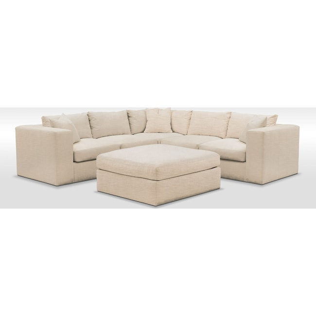 Living Room Furniture - Collin Comfort 6-Piece Sectional - Curious Pearl
