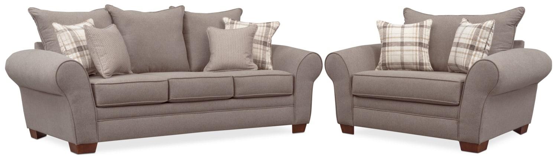 Living Room Furniture - Rowan Sofa and Chair and a Half Set - Gray