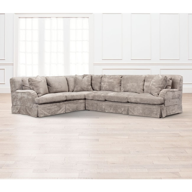 Living Room Furniture - Campbell Cumulus 2-Piece Sectional with Right-Facing Sofa - Cement